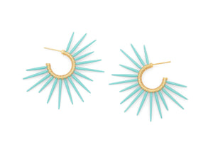 sea urchin inspired earrings with 14k gold vermeil and seafoam blue powder coated spikes