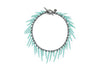 sea urchin inspired fringe bracelet with oxidized silver chain and seafoam blue powder coated spikes
