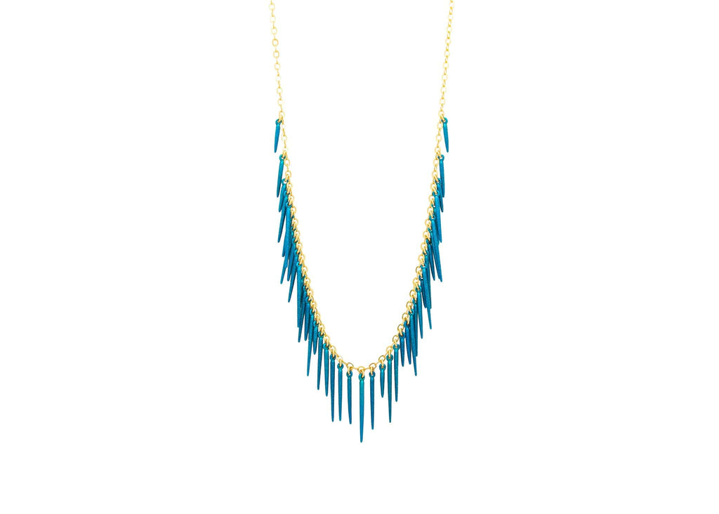 Sea urchin inspired 14k Gold Vermeil fringe necklace with powder coated blue spikes