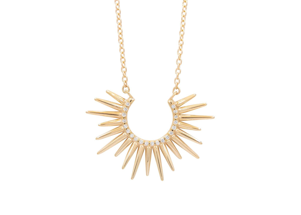 spiky 14k gold urchin necklace with pave set diamonds