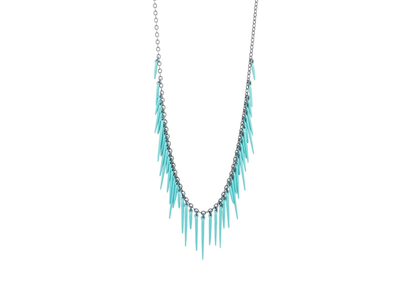 fringe style necklace with blue powder coated spikes and oxidized sterling silver
