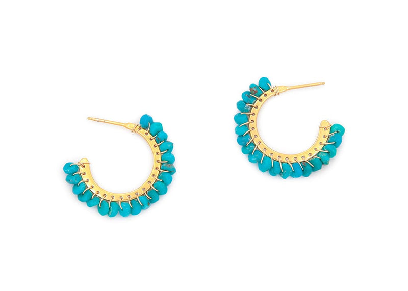 gold hoop earrings with faceted turquoise beads