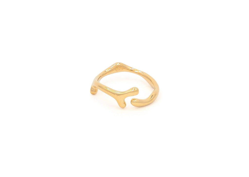 14k gold ocean inspired Hawaiian limu seaweed ring