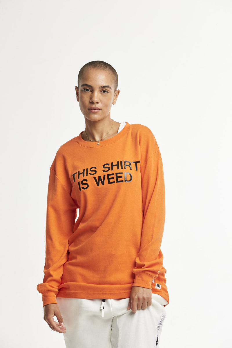 Hempx® Minimal This Shirt Is Weed™ L/S Black on Orange