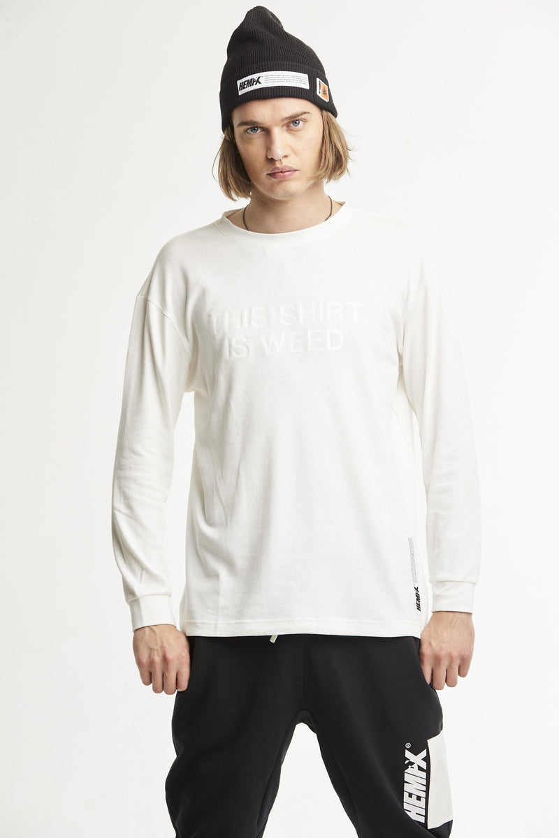 Hempx® Minimal This Shirt Is Weed™ L/S White on White