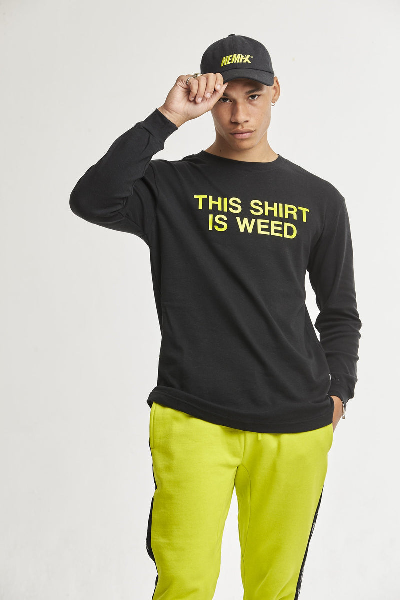Hempx® Minimal This Shirt Is Weed™ L/S Green on Black