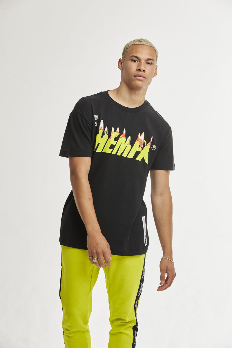 Hempx® Flame Tee Neon Green on Black