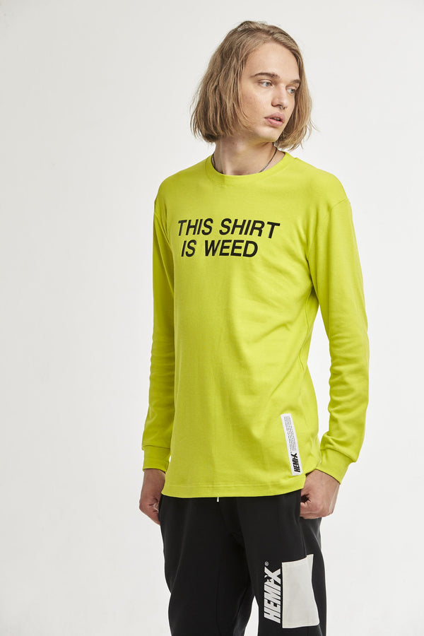 Hempx® Minimal This Shirt Is Weed™ L/S Black on Green