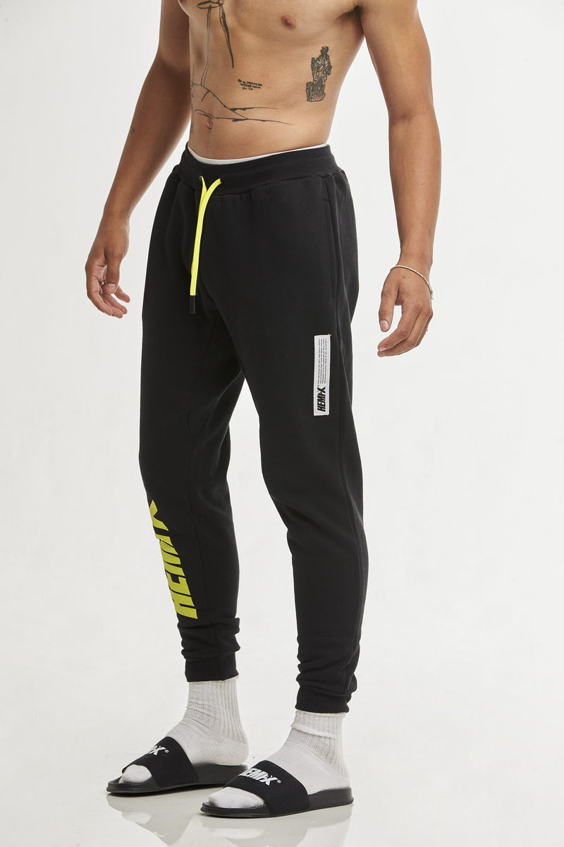 Hempx® Flame Track Pants Neon Green on Black
