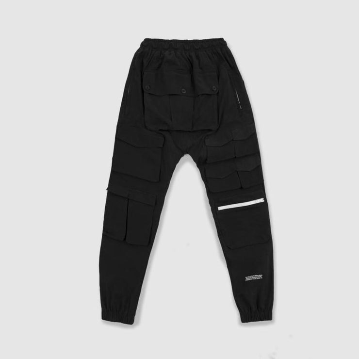 LOST SIGNAL MULTI-POCKET BLACK CARGO PANTS - TRILL Marketplace