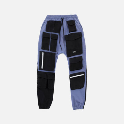 LOST SIGNAL MULTI-POCKET BLACK/PURPLE CARGO PANTS - TRILL Marketplace