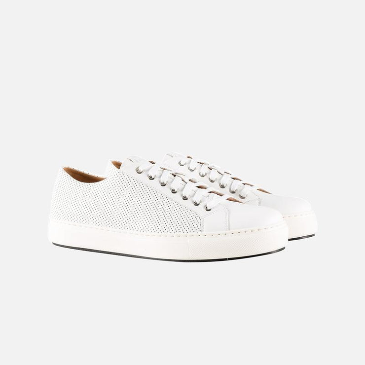 MAGNANNI WHITE HOLE PUNCHED LEATHER SNEAKERS
