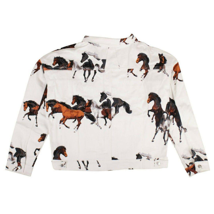 'HORSE PRINT' DENIM JACKET - WHITE - TRILL Marketplace