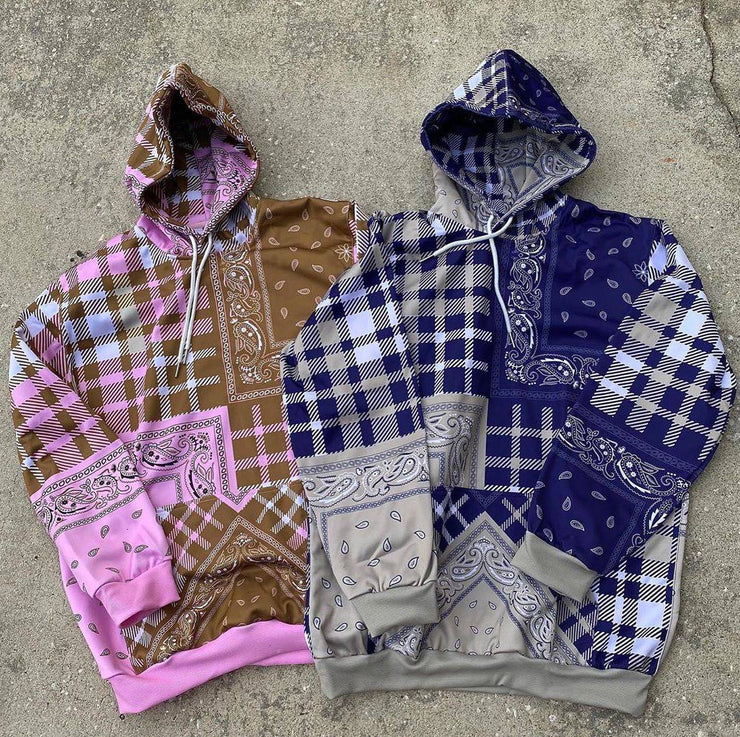 "BANDANA HOODIE ""PLAIDANA PATCHWORK "" PURPLE - TRILL Marketplace"