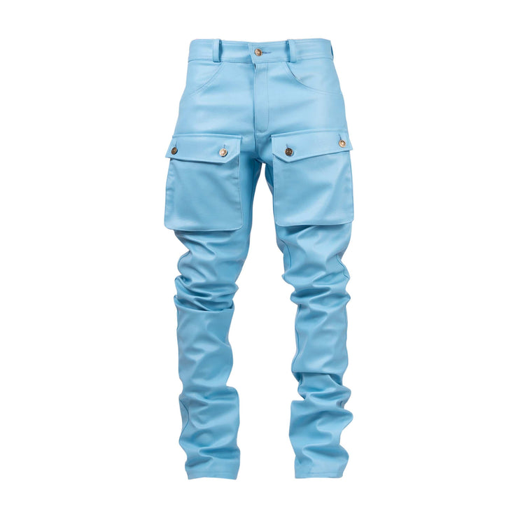 Powder Blue Leather Pants - TRILL Marketplace