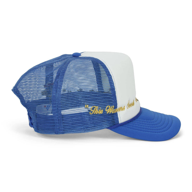 Virgin Mary Trucker Hat (Blue/White) - TRILL Marketplace