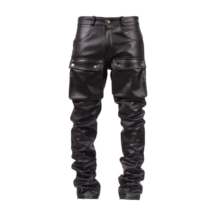 Black Leather Stacked Cargo Pants - TRILL Marketplace