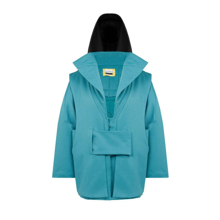Genderless Midi Downy Jacket- Turquoise - TRILL Marketplace