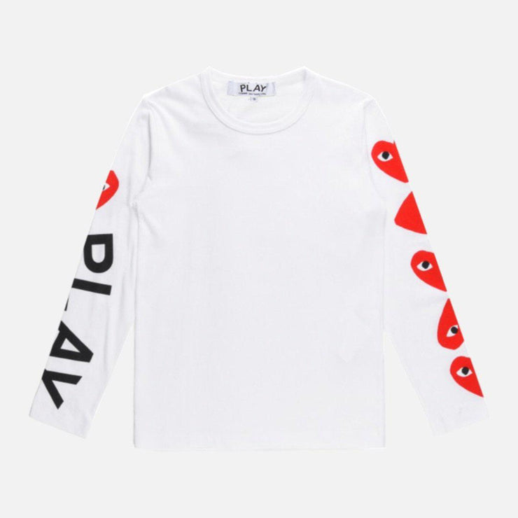 CDG PLAY LONG SLEEVE MULTI HEART & LOGO TEE - TRILL Marketplace
