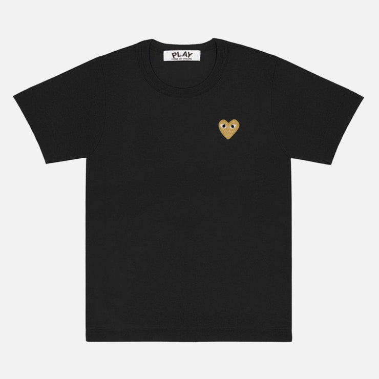 CDG PLAY SMALL GOLD HEART BLACK TEE - TRILL Marketplace