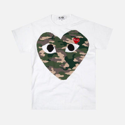 CDG PLAY CAMOUFLAGE HEART WHITE TEE - TRILL Marketplace