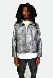 SKULL PRINTED LEATHER JACKET - TRILL Marketplace