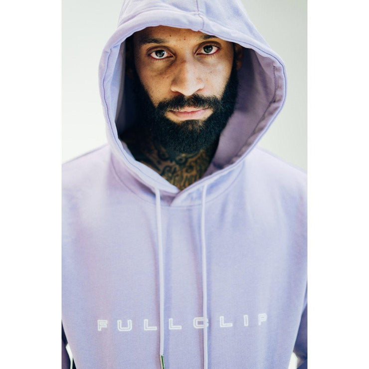 Embroidered Heavyweight Quick Strike Hoodie in Lavender - TRILL Marketplace