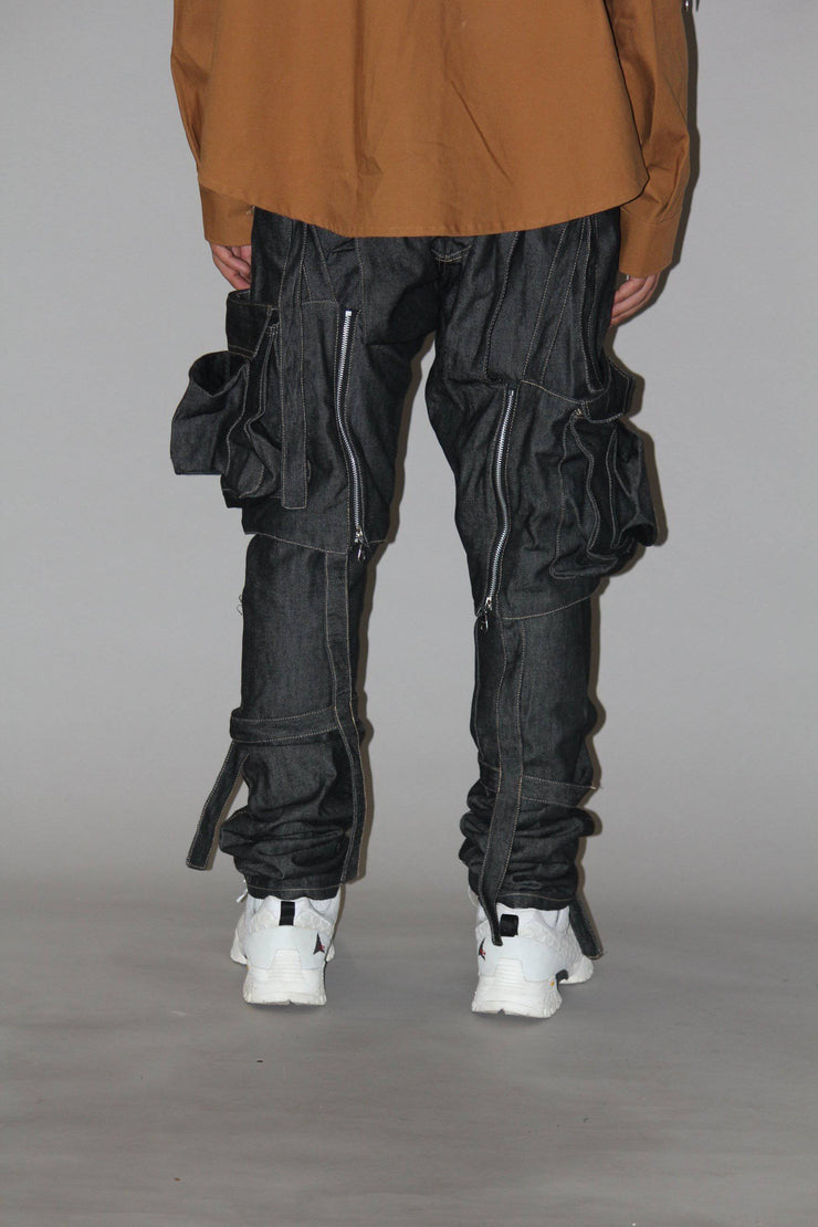 BLACK DETACHABLE DENIM
