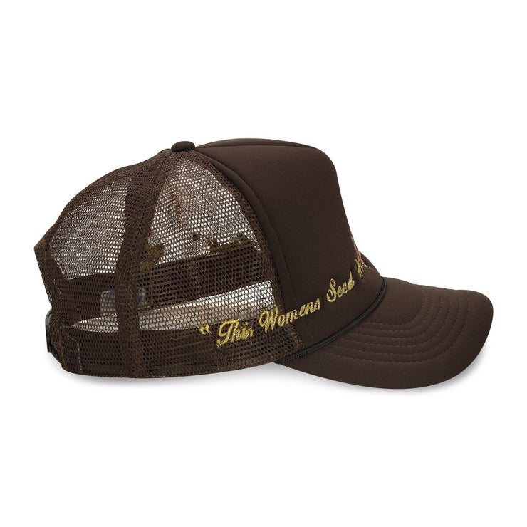 Virgin Mary Trucker Hat (Brown) - TRILL Marketplace
