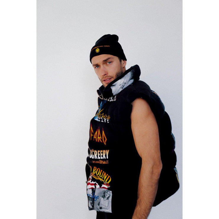 """Rock Away"" Black Reversible T-shirt Puffer Vest - TRILL Marketplace"