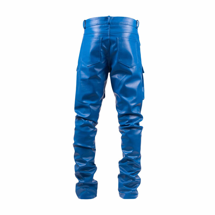 Royal Blue Leather Stacked Cargo Pants - TRILL Marketplace