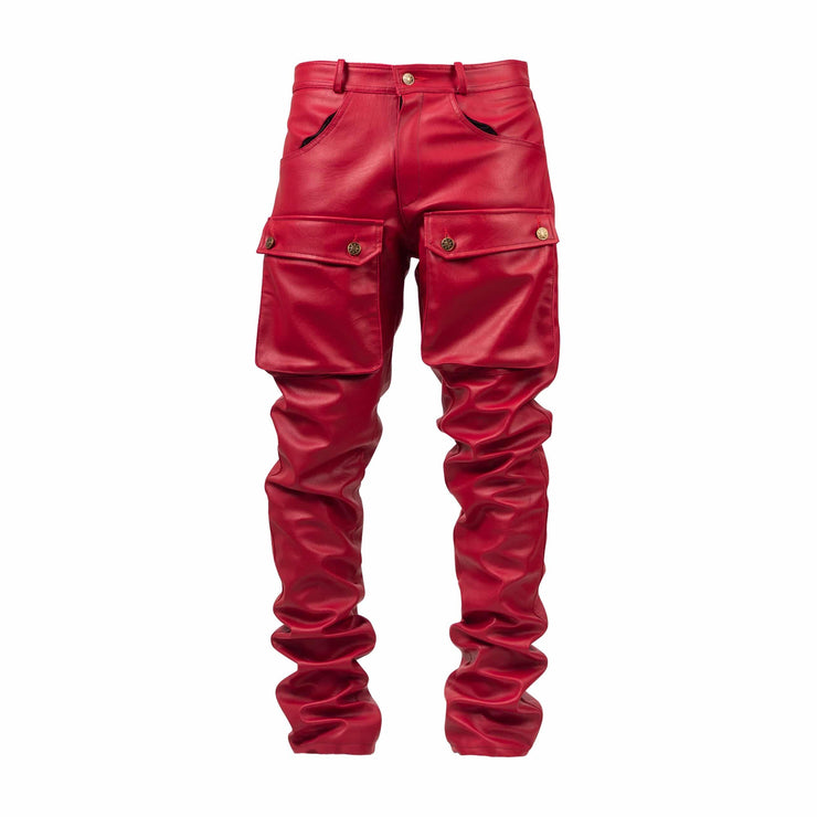 Red Leather Stacked Cargo Pants - TRILL Marketplace
