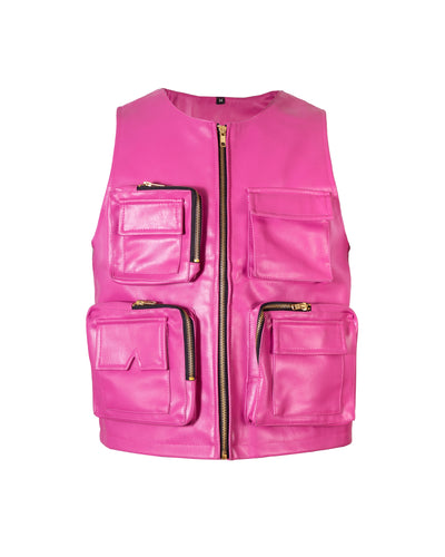 Fuchsia Leather Utility Vest - TRILL Marketplace