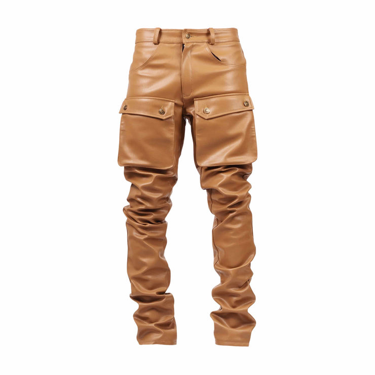 Nude Leather Stacked Cargo Pants - TRILL Marketplace