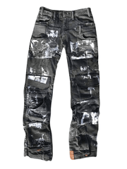 BLACK PATCHWORK SCREEN PRINTED JEANS