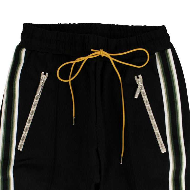SIDE STRIPE TRACK PANTS - BLACK/GREEN - TRILL Marketplace