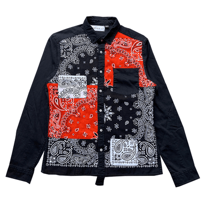 Orange Paisley Bandana Patchwork Denim Button Down