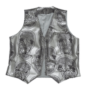 SKULL PRINTED LEATHER VEST - TRILL Marketplace