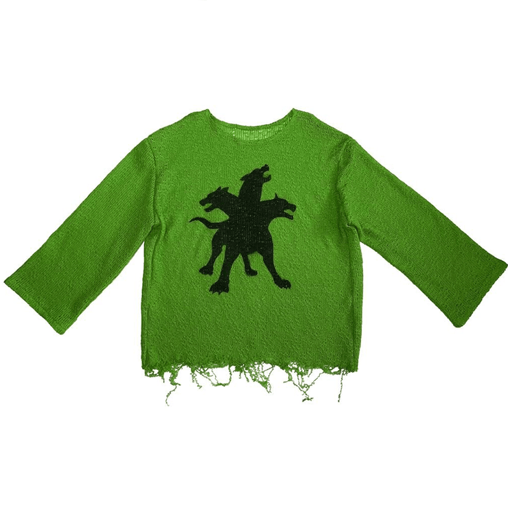 CERBERUS KNITTED SWEATER GREEN - TRILL Marketplace