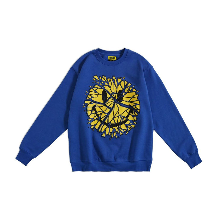 SMILEY GLASS CREWNECK (BLUE) - TRILL Marketplace