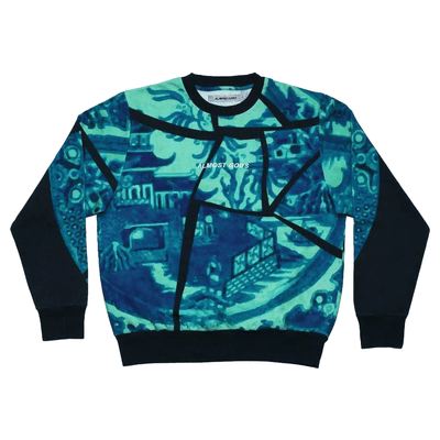 Teal Gongbi Sweatshirt - TRILL Marketplace