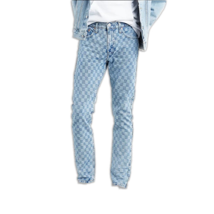 Checkered Denim Jeans - TRILL Marketplace