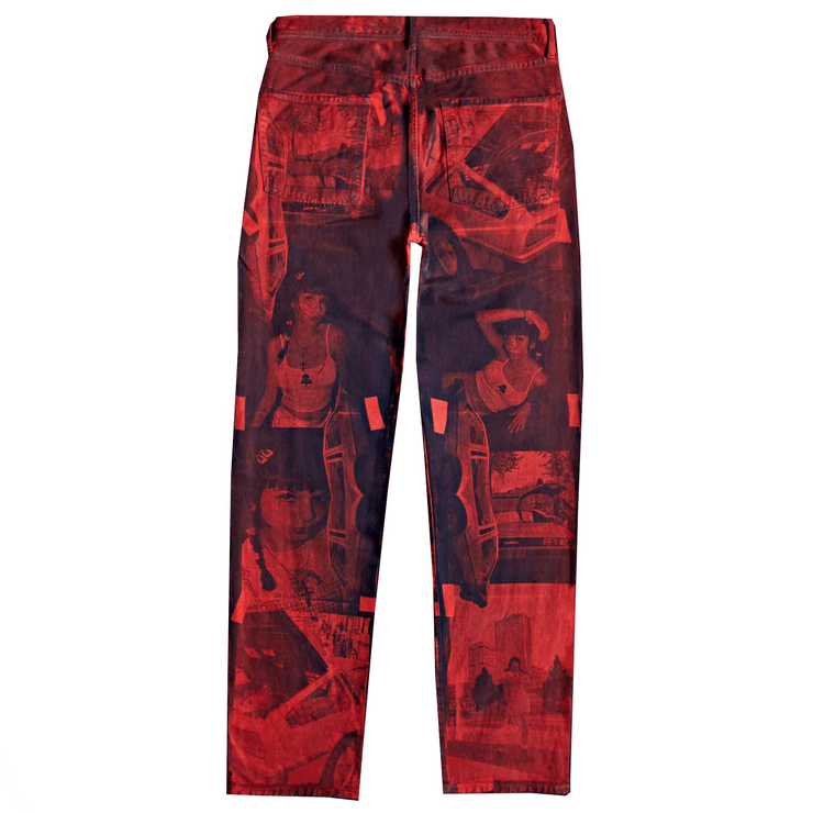 NEGATIVE FEED DENIM PANTS 002 (RED) - TRILL Marketplace