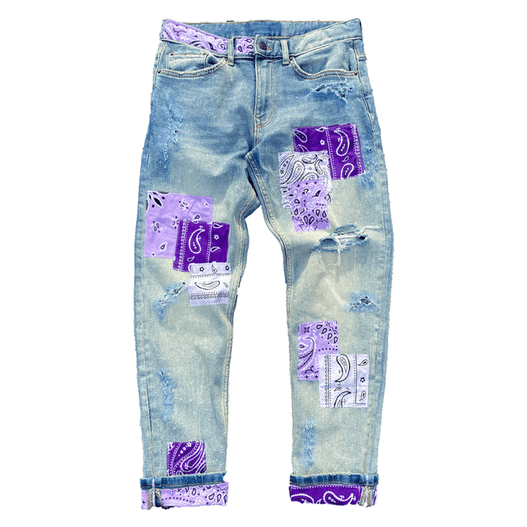 Purple Paisley Denim Pants - TRILL Marketplace