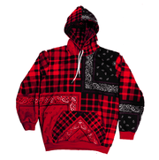 "BANDANA HOODIE ""PLAIDANA PATCHWORK "" RED - TRILL Marketplace"