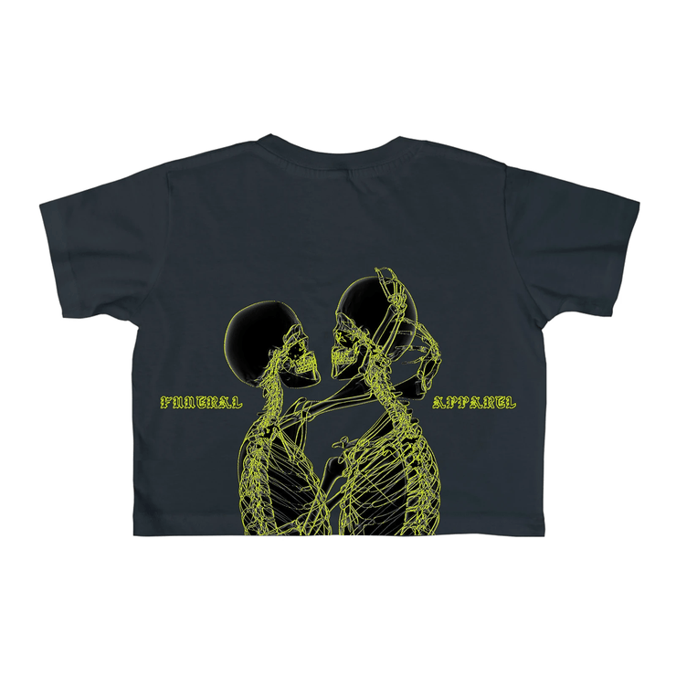 Funeral Women Skeleton Cropped T-Shirt Dark Blue