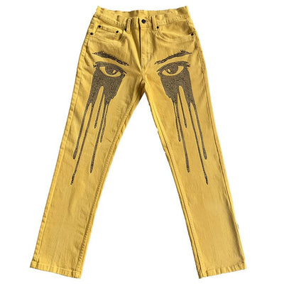 CAN YOU SEE ME NOW JEANS YELLOW - TRILL Marketplace