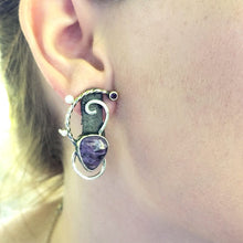Load image into Gallery viewer, Charoite and Shibuishi Earrings - kim crocker designs