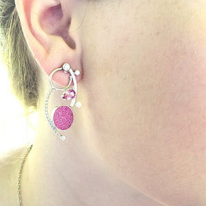 Pink Drusy with Pink Topaz Earrings - kim crocker designs