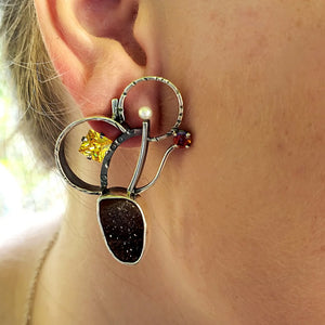 Carnelian Drusy Earrings - kim crocker designs
